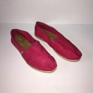 TOMS Classic Rope Sole Magenta Shoe Sz 9 NWOT